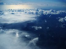 Aerial: Clouds. Peace and Serenity. An aerial view of clouds and oceans royalty free stock photos