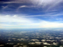 Aerial cloudscape scenic. Aerial view of picturesque cloudscape taken from aircraft Stock Photo