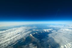 Aerial cloudscape, sky and horizon. Royalty Free Stock Photo