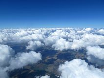Aerial cloudscape, sky and horizon. Stock Image