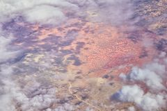 Aerial Cloudscape view over midwest states on flight over Colorado, Kansas, Missouri, Illinois, Indiana, Ohio and West Virginia du. Ring autumn. Grand sweeping royalty free stock image