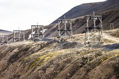 Aerial coal mining towers, Longyearbyen, Svalbard, Norway Stock Images