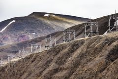 Aerial coal mining towers, Longyearbyen, Svalbard, Norway Stock Photo
