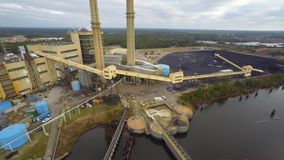 Aerial coal plant stock video