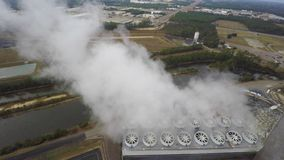 Aerial coal plant stock footage
