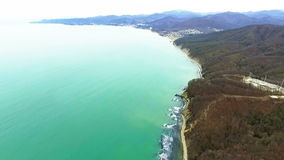 Aerial coast. Mountain landscape. stock footage