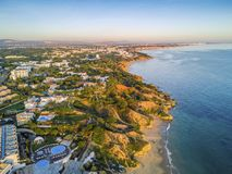 Aerial coastal view of Albufeira area, Algarve, Portugal royalty free stock photos