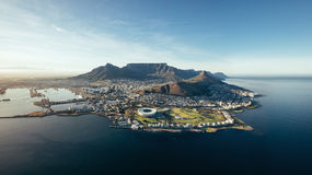 Aerial coastal view of Cape Town, South Africa. Aerial coastal view of Cape Town. View of cape town city with table mountain, cape town harbour, lion's head and Royalty Free Stock Image