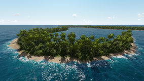 Aerial coastal view of tropical island in ocean Royalty Free Stock Photo