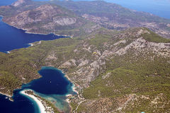 Aerial coastline Fethiye oludeniz Stock Photography