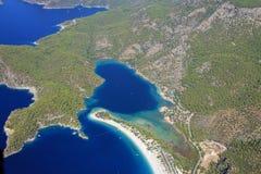 Aerial coastline Fethiye turkey stock images
