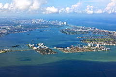 Aerial of coastline Miami Stock Image