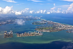 Aerial of coastline Miami Stock Photography