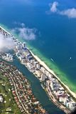 Aerial of coastline Miami Royalty Free Stock Image