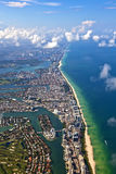 Aerial of coastline Miami Royalty Free Stock Photos