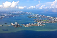 Aerial of coastline Miami Stock Photo