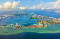 Aerial of coastline Miami Royalty Free Stock Images