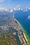 Aerial of the coastline in Miami Florida Royalty Free Stock Photo