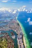 Aerial of coastline Miami Stock Image