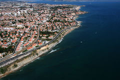 Aerial coastline view. Aerial view of coastline in Portugal royalty free stock photography