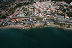Aerial coastline view with sandy beach. Aerial view of coastline in Portugal stock photo