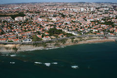 Aerial coastline view with sandy beach. Aerial view of coastline in Portugal royalty free stock photos