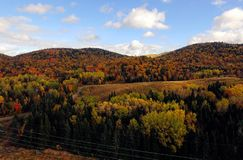 Aerial of colorful mountains during fall in Quebec Royalty Free Stock Images
