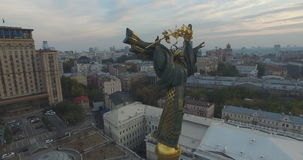 Aerial: Column of Independence Monument on Independence Square in Kyiv stock footage