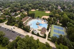 Aerial of Community Swimming Pool and Baseball Diamonds Stock Photos