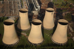 Aerial of cooling Towers Royalty Free Stock Photo