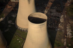 Aerial of cooling Towers Royalty Free Stock Images