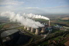 Aerial of cooling Towers Royalty Free Stock Photography
