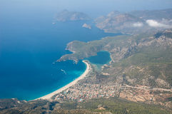 Aerial costal view. Aerial view on the coast of the Mediterranean sea in Oludeniz, Turkey stock images
