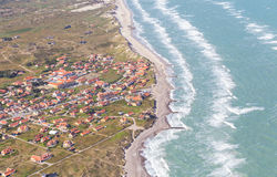 Aerial and costal view of old (gammel) Skagen,Denmark. Aerial and costal view of old(gammel)Skagen,Denmark.Beautiful aerial view of Old stock photo