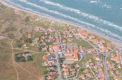 Aerial and costal view of old(gammel) Skagen,Denmark. Aerial and costal view of old (gammel)Skagen,Denmark.Beautiful aerial view of Old royalty free stock photo
