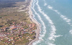 Aerial and costal view of old (gammel) Skagen,Denmark. Aerial and costal view of old(gammel)Skagen,Denmark.Beautiful aerial view of Old royalty free stock photos