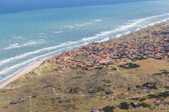 Aerial and costal view of old (gammel) Skagen,Denmark. Aerial and costal view of old (gammel)Skagen,Denmark.Beautiful aerial view of Old stock photos