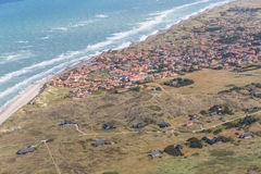 Aerial and costal view of old(gammel)Skagen,Denmark. Beautiful aerial view of Old Skagen city and sea stock photos