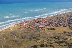 Aerial and costal view of old(gammel )Skagen,Denmark. Aerial and costal view of old (gammel)Skagen,Denmark.Beautiful aerial view of Old stock images