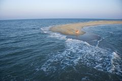 Aerial of couple on beach. Stock Photography