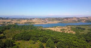 Aerial of Crystal Springs Reservoir in San Mateo panoramic view