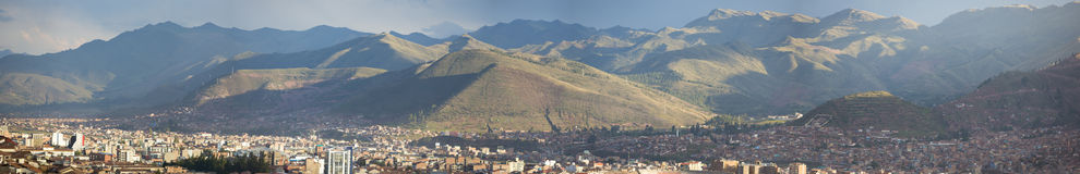 Aerial Cusco city view with Andean mountains in Cusco, Peru Stock Photo