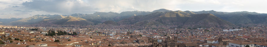 Aerial Cusco city view with Andean mountains in Cusco, Peru Stock Images