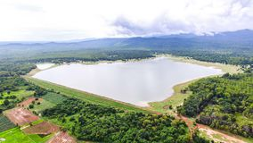 Aerial dam in thailand. Royalty Free Stock Images