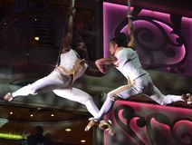 Aerial dancers. These are two aerial dancers on a cruise  ship for entertainment Royalty Free Stock Photo
