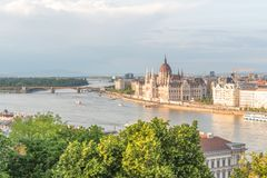 Aerial Danube panorama with a view of Hungarian Parliament building in central Budapest.  royalty free stock photography