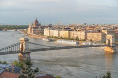 Aerial Danube panorama with a view of Hungarian Parliament building in central Budapest.  stock photos