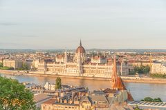 Aerial Danube panorama with a view of Hungarian Parliament building in central Budapest.  royalty free stock photo