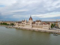 Aerial Danube panorama with a view of Hungarian Parliament building in central Budapest.  royalty free stock photos