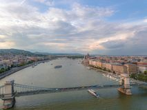 Aerial Danube panorama with a view of Hungarian Parliament building in central Budapest.  stock images